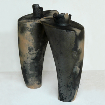 Dynamic Forms I and II, carbonized earthenware